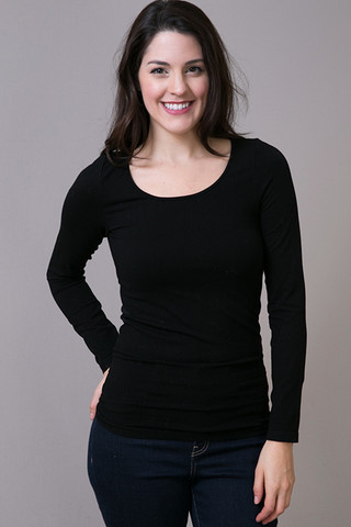 M. Rena Black Scoop Long Sleeve