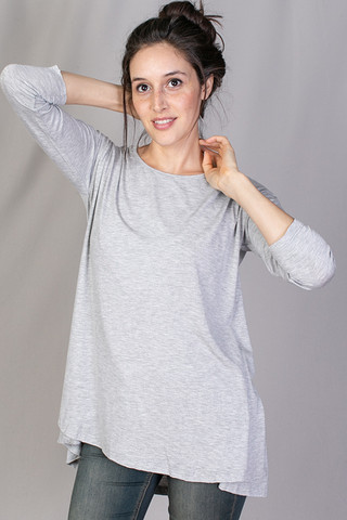 Mystree Long Sleeve Drape Top Grey