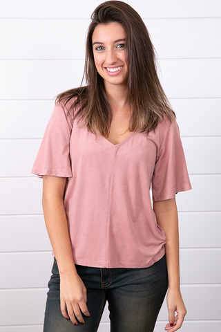 Z Supply The Suede Flutter Tee Pink Dust