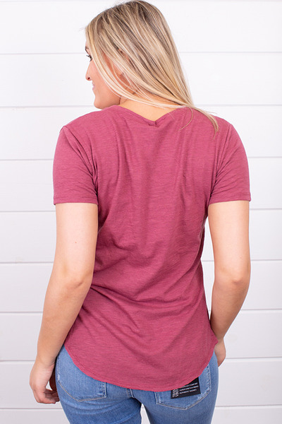 Z Supply The Airy Slub Pocket Tee Crushed Berry 3