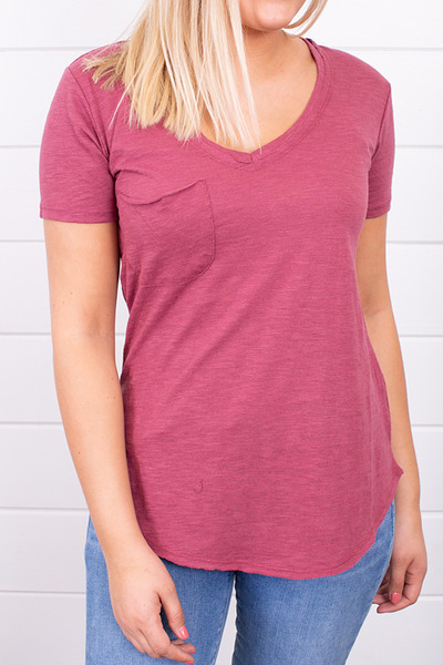 Z Supply The Airy Slub Pocket Tee Crushed Berry 4