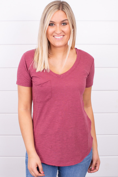 Z Supply The Airy Slub Pocket Tee Crushed Berry