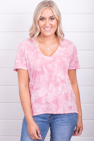Z Supply The Cloud Tie Dye Tee Zephyr Pink