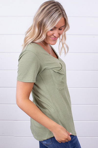 Z Supply The Pocket Tee Oil Green 3