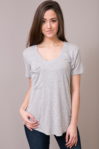 Z Supply The Sleek Jersey Pocket Tee Heather Grey