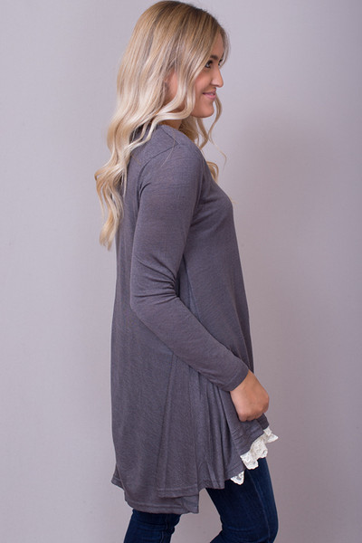 Umgee Lace Long Sleeve Charcoal 2