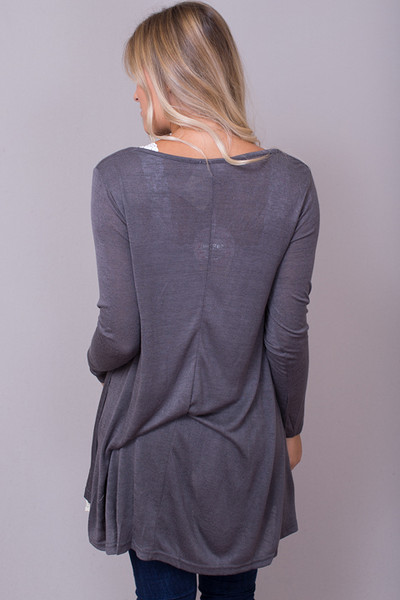 Umgee Lace Long Sleeve Charcoal 3