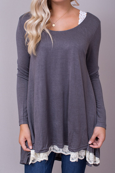 Umgee Lace Long Sleeve Charcoal 4