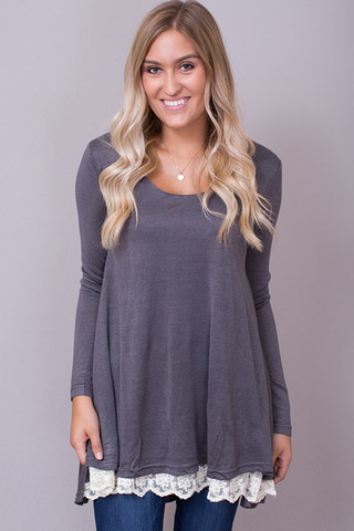 Umgee Lace Long Sleeve Charcoal