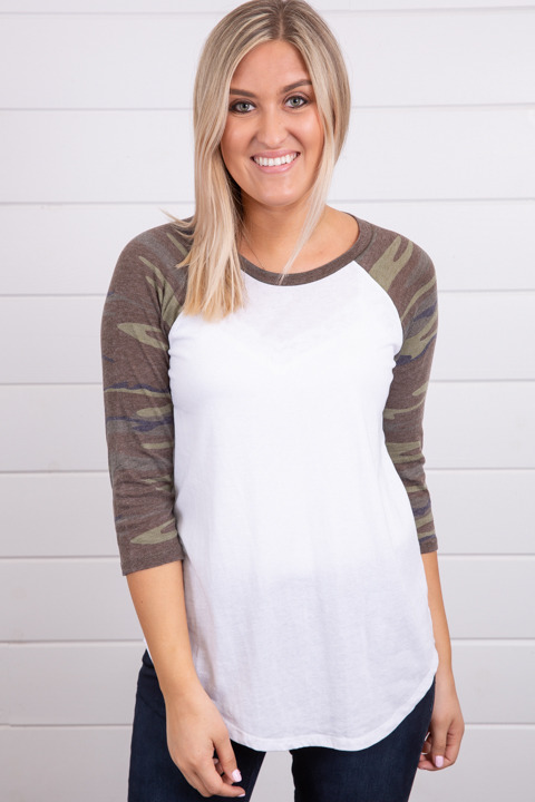 Z Supply The Camo Baseball Tee Green