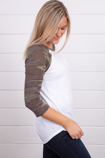 Z Supply The Camo Baseball Tee Green 3
