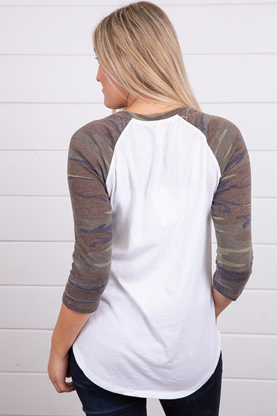 Z Supply The Camo Baseball Tee Green 2
