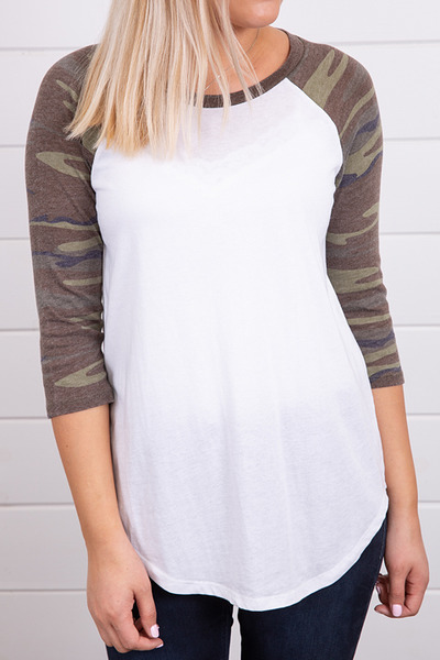 Z Supply The Camo Baseball Tee Green 4
