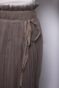 Mocha Pleated Tulle Skirt