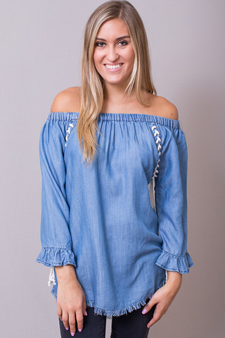 Billy T Denim Lace Up Tunic