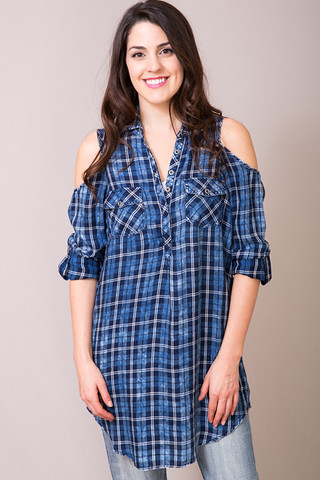 Billy T Plaid Cold Shoulder Tunic