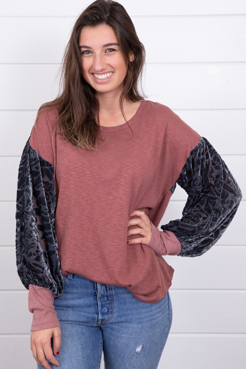 Mystree Burnout Velvet Sleeve Top