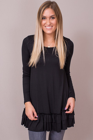 Easel Black Long Sleeve Ruffle Tunic