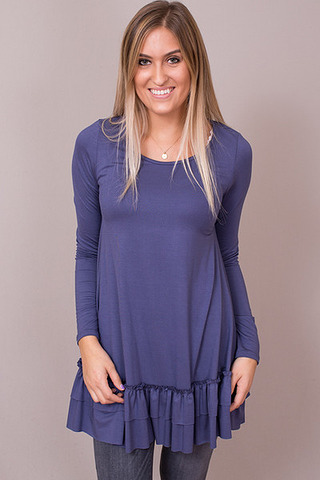 Easel Faded Navy Long Sleeve Ruffle Tunic
