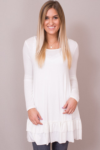Easel Off White Long Sleeve Ruffle Tunic