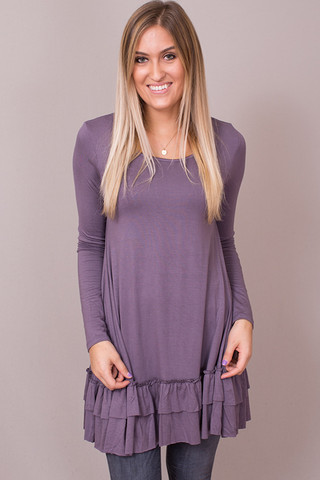 Easel Purple Taupe Long Sleeve Ruffle Tunic