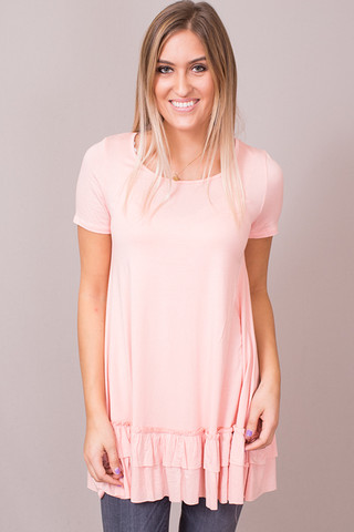 Easel Short Sleeve Ruffle Tunic Blush