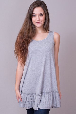 Easel Sleeveless Ruffle Tunic Light Grey