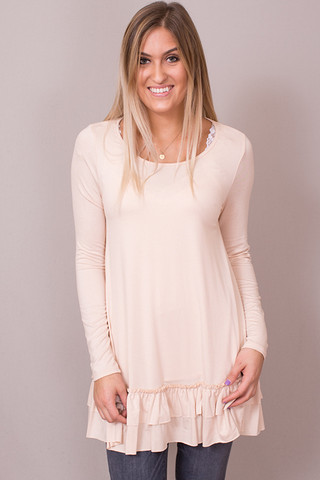 Easel Tan Long Sleeve Ruffle Tunic