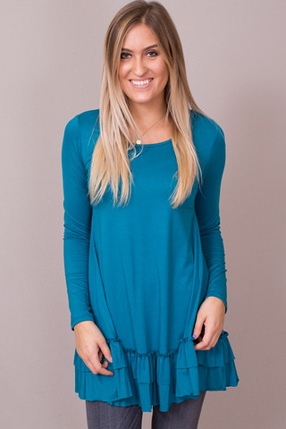Easel Teal Long Sleeve Ruffle Tunic