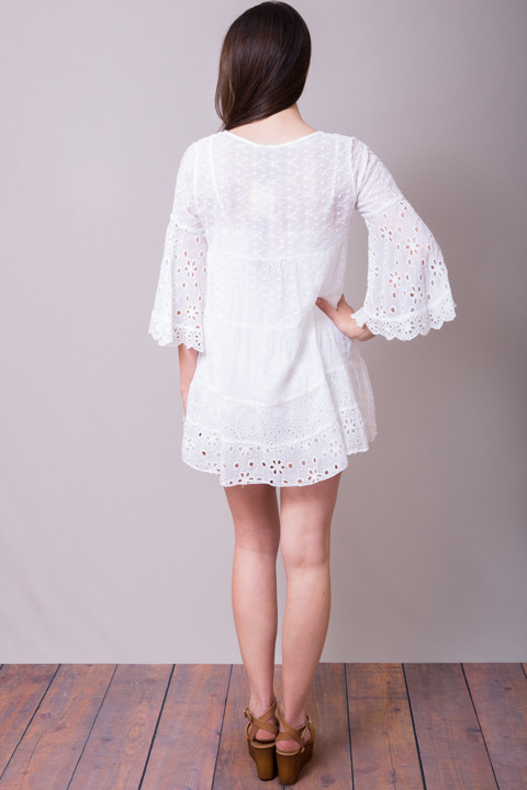 Johnny Was Collection White Bell Sleeve Tunic 3