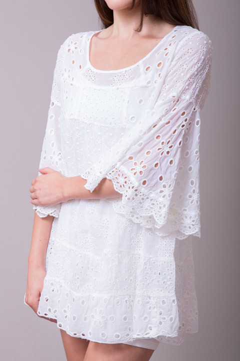 Johnny Was Collection White Bell Sleeve Tunic 4