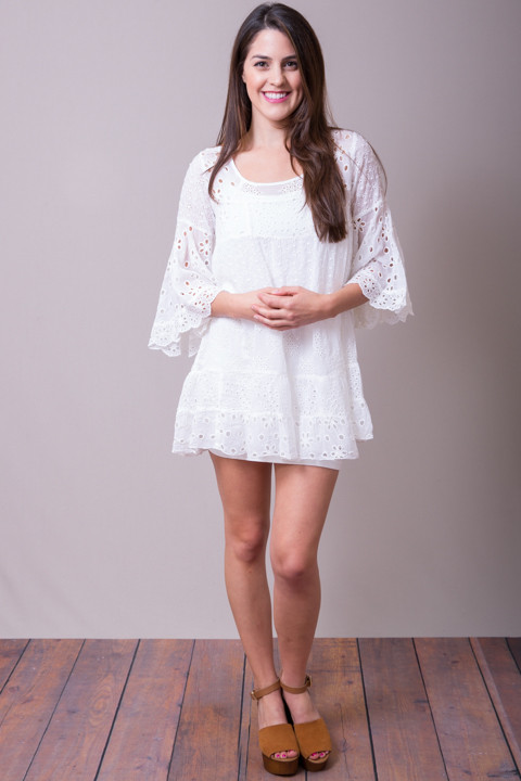 Johnny Was Collection White Bell Sleeve Tunic