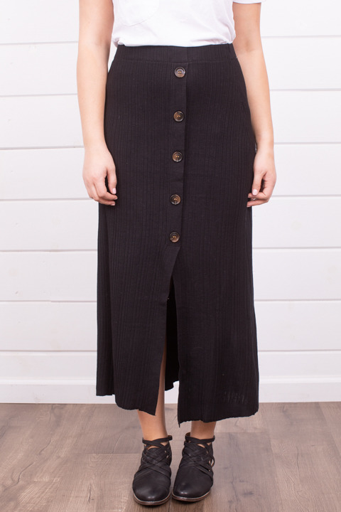 Mystree Black Button Down Skirt