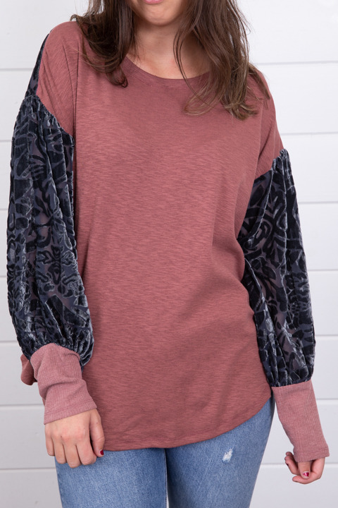 Mystree Burnout Velvet Sleeve Top 2