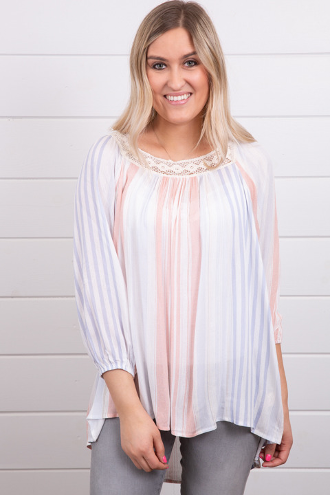Mystree Square Neck Stripe Tunic