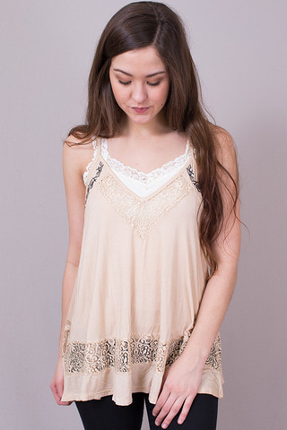 POL Cream Flowy Lace Cami