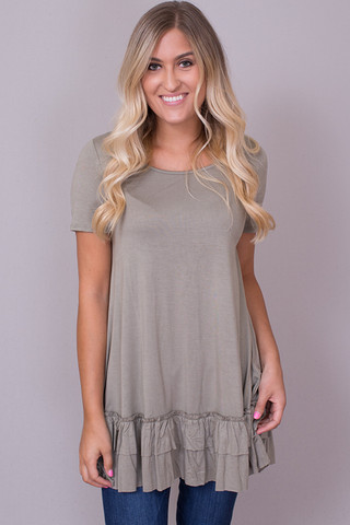Easel Short Sleeve Ruffle Tunic Faded Olive