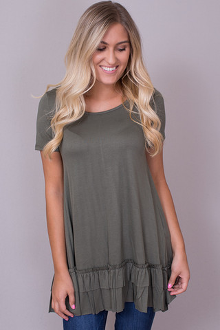 Easel Short Sleeve Ruffle Tunic Jungle Green