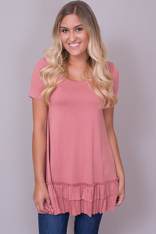Easel Short Sleeve Ruffle Tunic Light Brick