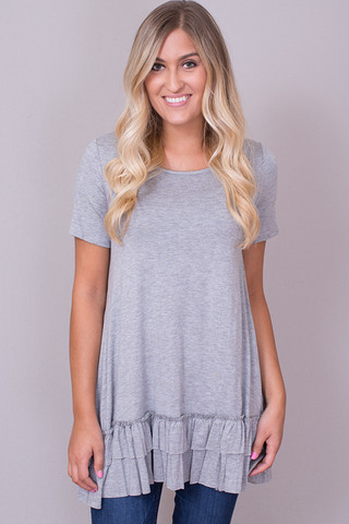 Easel Short Sleeve Ruffle Tunic Light Grey