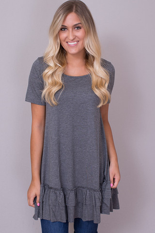 Easel Short Sleeve Ruffle Tunic Mid Grey