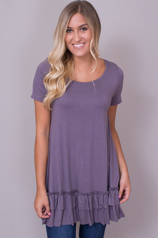 Easel Short Sleeve Ruffle Tunic Purple Taupe