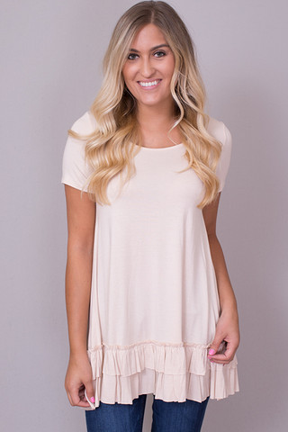 Easel Short Sleeve Ruffle Tunic Tan