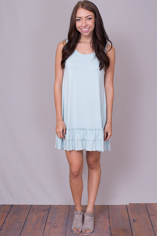 Easel Sleeveless Ruffle Tunic Blue Sky
