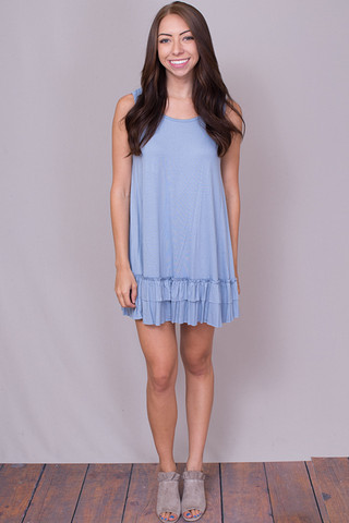 Easel Sleeveless Ruffle Tunic Faded Denim