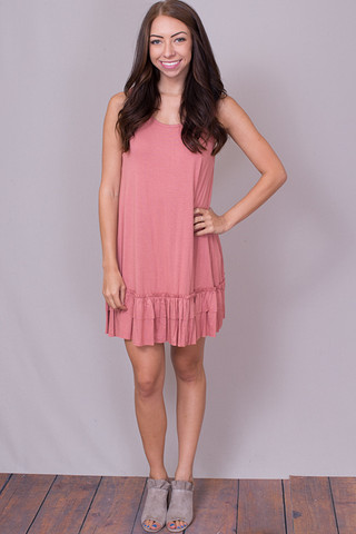 Easel Sleeveless Ruffle Tunic Light Brick