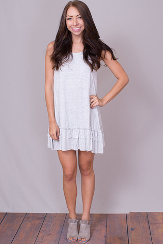 Easel Sleeveless Ruffle Tunic Lighter Grey