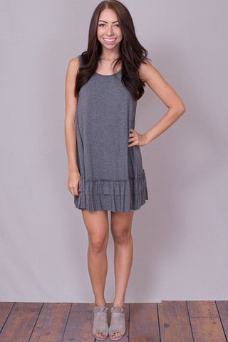 Easel Sleeveless Ruffle Tunic Mid Grey