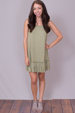Easel Sleeveless Ruffle Tunic New Olive