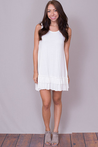Easel Sleeveless Ruffle Tunic Off White